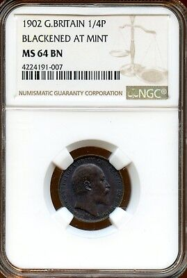 Beautiful 1902 NGC MS 64 BN Great Britain Farthing 1/4P Blackened At Mint LF60