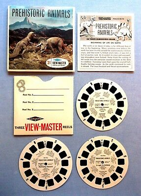 Viewmaster Reels - Prehistoric Animals - Set Of 3 With Booklet - Excellent Cond.