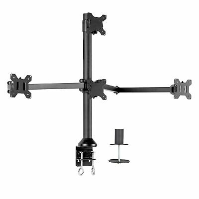 VIVO Steel Quad Monitor Desk Mount Adjustable 3 + 1 Stand | 4 Screens up to 32""