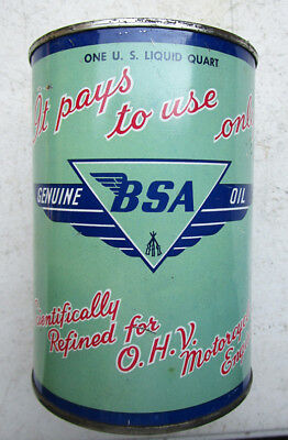 BSA VINTAGE MOTORCYCLE OIL CAN TIN 1960s QUART 1950s 1960s GOLD STAR FLASH SAE50