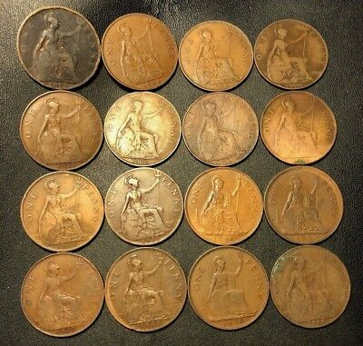 Vintage Great Britain Coin Lot - 16 OLDER LARGE Pennies - 1898-1948 - Lot #89