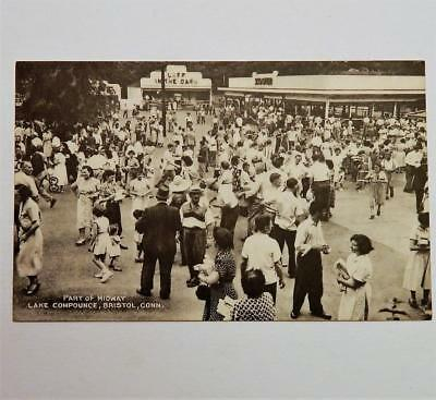 Old View of Carnival Fair Midway Lake Compounce Bristol Conn. Postcard