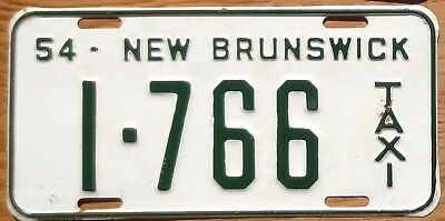 1954 New Brunswick License Plate Number Tag – Taxi