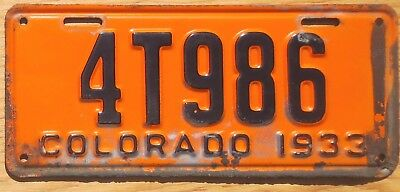 1933 Colorado License Plate Number Tag