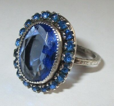 VTG ANTIQUE ART DECO STERLING SILVER FAUX SAPPHIRE PASTE RHINESTONE RING Size 6