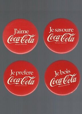 Vintage 1980's Coca-Cola / COKE  ''Red FRENCH''  Pin / Button  **Set of 4**