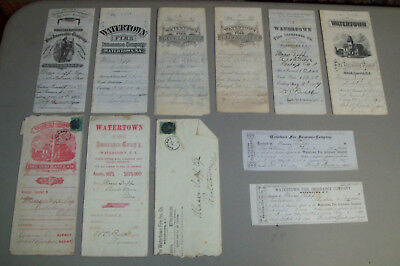 Antique Lot Watertown Fire Insurance Co Policy NY Paper Ephemera 1878-90