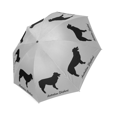 Black AUSTRALIAN SHEPHED Dog Puppy Auto Foldable Polyester UMBRELLA Free Ship