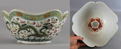 Antique Signed 19thC Chinese Export Porcelain Bowl w/ Dragons & Good Luck Symbol