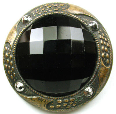 Antique Gay 90's Type Button w/ Onyx Jewel & Cut Steel on Brass Border 1 & 1/2""