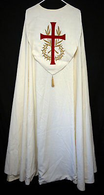 WHITE COPE w RED CROSS GOLD EMBROIDERY Priest Vestments Church Clergy Bishop