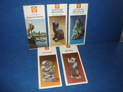 Lot of 5 1967 SHELL ROAD MAPS Canada VICTORIA Quebec ONTARIO Newfoundland N.S. +