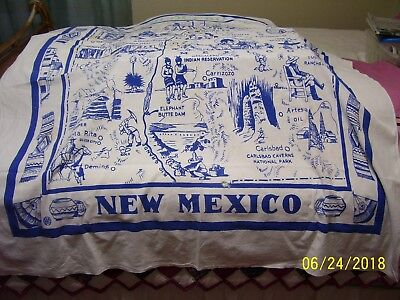 """(Ad 69) Vtg New Mexico State Tablecloth 1950's Blue & White 48"""" X 50"""""""