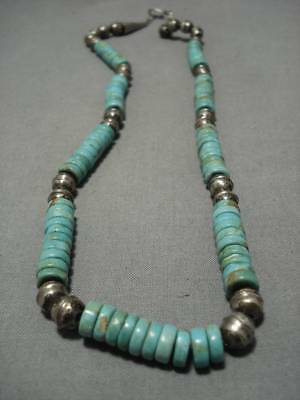 Museum Quality!! Vintage Navajo Royston Turquoise Sterling Silver Necklace Old