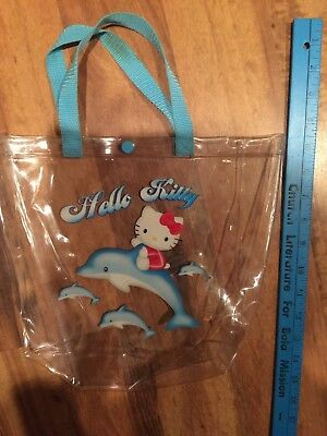 Hello Kitty Clear Bag Purse Pouch Tote Vtg 2002 Dolphins Cat Blue Girls Kid HTF