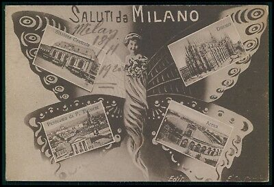 Butterfly woman Metamorphic surrealist fantasy Milano Italy old 1910s postcard