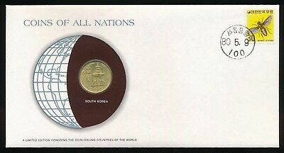 South Korea Coins of All Nations PNC Cover 1979 10 Won UNC