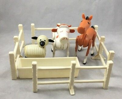 Horse Cow Sheep Whittled Fence Trough Vintage Fisher Price Little People 915 Lot