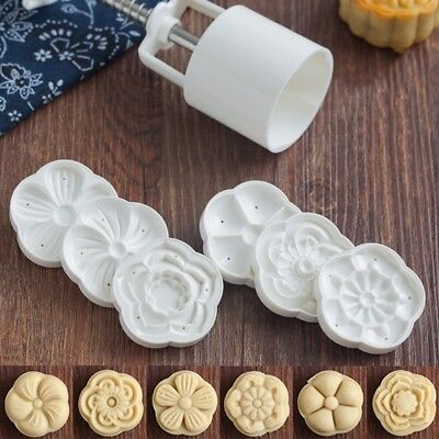 50g 6 Flower Stamps Moon Cake Mould 3D DIY Round Mooncake Mold Baking Decor Tool