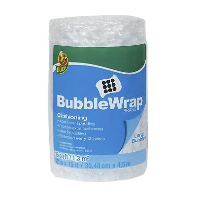 """Duck Brand Large Bubble Wrap Roll, 5/16"""" Large Bubble Cushioning, 12"""" x 15', Per"""