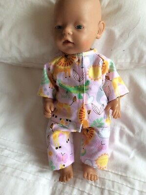 """DOLLS CLOTHES - Pyjamas to fit 17"""" Baby Born doll ~ Pink ~~. Animals"""