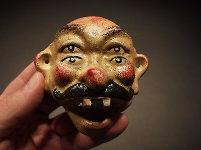Antique Vintage Style Cast Iron folk art 4 eyed Beer Clown Wall Bottle Opener