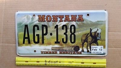 License Plate, Montana, Timber Heritage, Horse Pullin Log, AGP - 138