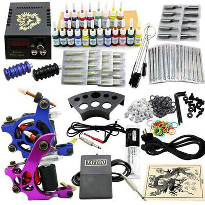 Complete Tattoo Machine Kit 2 Guns 20 Colors Ink with Case Set Power Supply JM11