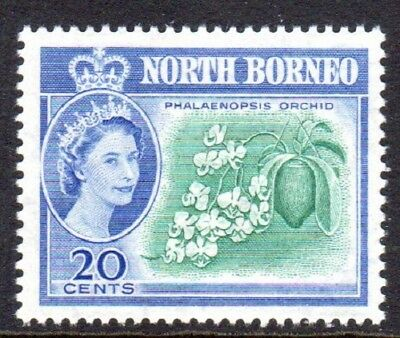 1961 MALAYSIA NORTH BORNEO 20c butterfly orchid SG397 mint unhinged