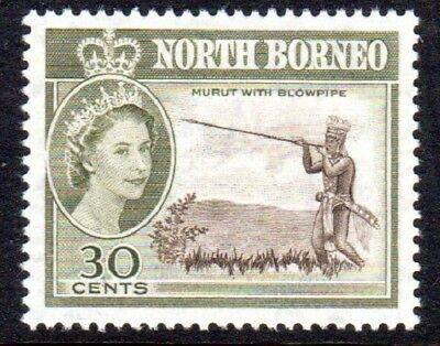 1961 MALAYSIA NORTH BORNEO 30c Murut with blow-pipe SG399 mint unhinged