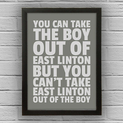 EAST LINTON - BOY/GIRL FRAMED WORD TEXT ART PICTURE POSTER East Lothian