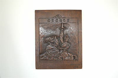Original 1930's hand carved oak wall plaque The George Saint George & Dragon