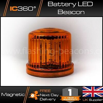 Battery Powered LED Magnetic Amber Beacon - Hazard - Recovery - Flashing