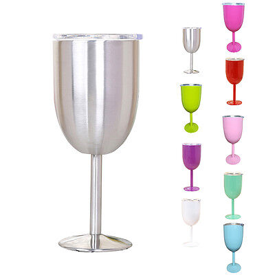 10oz Wine Glass Double Wall Insulated Tumbler w/Lid Stainless Steel Drinking Cup