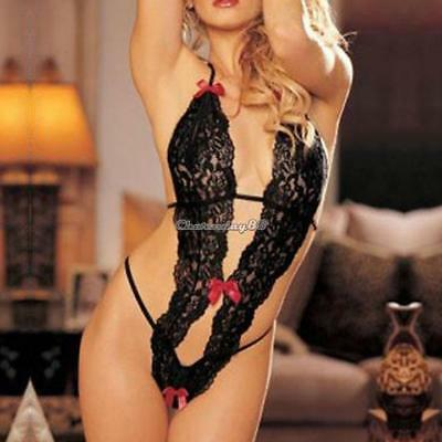 New Sexy Womens Lingerie Jumpsuits Teddies Lace Up Backless Sleepwear 01