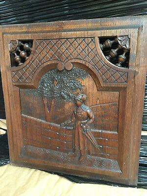 10081 French Antique Carved Wood Architectural Panel Brittany 1880s