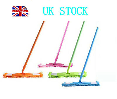 Extendable Long Pile Microfibre Flat Mop Cleaner Sweeper Laminate Floor Wet Dry