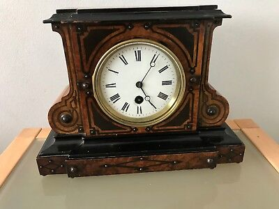 Lovely Edwardian French Mantel Clock With Inlay And Ceramic Face
