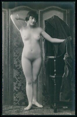 French nude woman Flapper in studio pose original c1910-1920s photo postcard aa