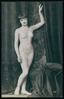 French nude woman Kiki de Montparnasse style original c1910-1920s photo postcard