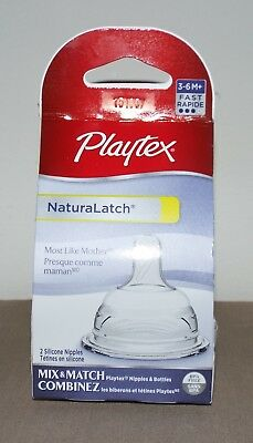 Brand New Sealed Playtex Naturalatch 2 Silicone Bottle Nipples 3-6 M Months Fast