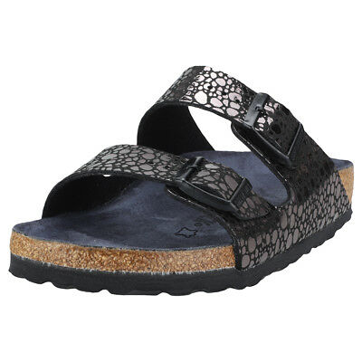 2b1960e8521a Birkenstock Arizona Birko-flor Narrow Fit Womens Black Metal Synthetic  Sandals