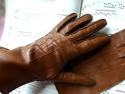 Vintage original 1950's  Hand-stitched tan Quality Leather Gloves 7 - 7 1/2