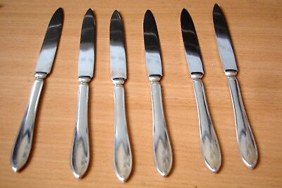 Set of 6 Silver Plate Primans Alpacca Fruit or Butter Knives