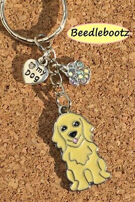 Golden Retriever Key Ring. Love My Dog, Crystal Paw Print. Hand Made With Love x