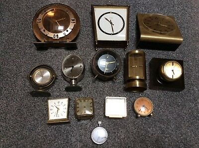 Joblot Of Vintage Retro Deco Alarm Desk Mantel Clocks All Broken Not Working
