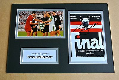 TERRY McDERMOTT HAND SIGNED AUTOGRAPH A4 PHOTO DISPLAY LIVERPOOL 1977 GIFT & COA