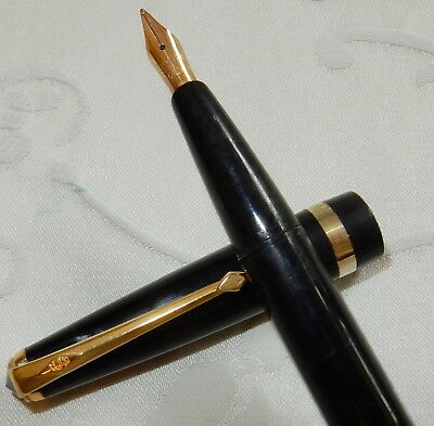 VINTAGE CONWAY STEWART No 57 FOUNTAIN PEN - BLACK - 14 GOLD SMOOTH MED RESTORED