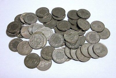 Lot of 50 Circulated Swiss 1 Francs