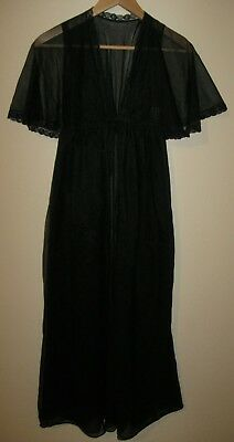 Vintage Montgomery Ward Sheer Black Nightgown medium